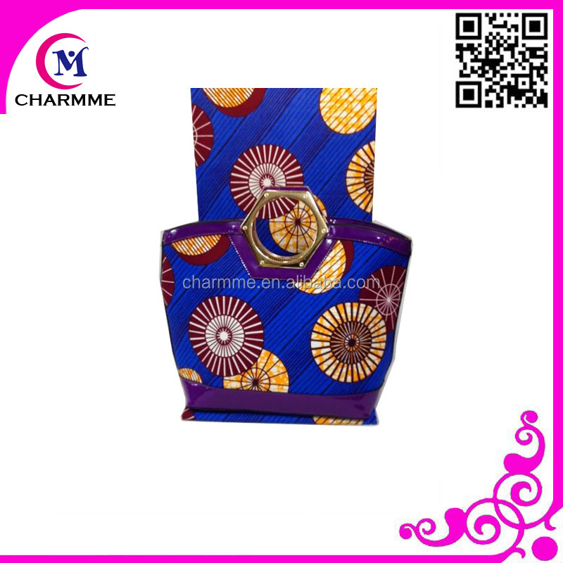 2016 Newest Ankara Wax Design WB-0125 super wax hollandais fabric matching bag