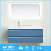 China Factory 2017 Simple Modern bathroom wall cabinet with glass doors for sale