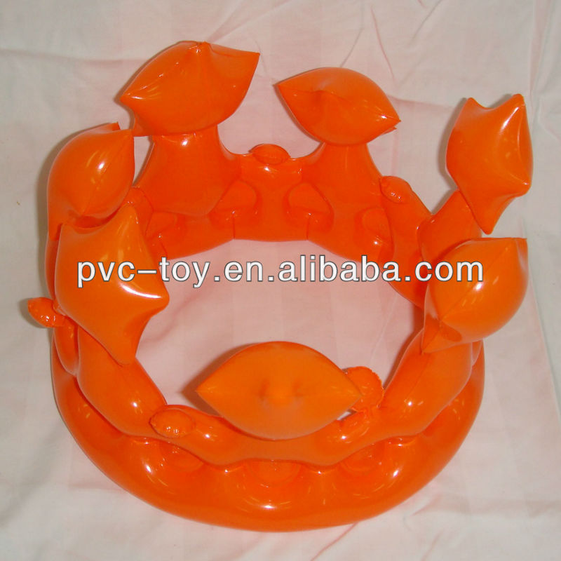 orange inflatable king crown for promotion