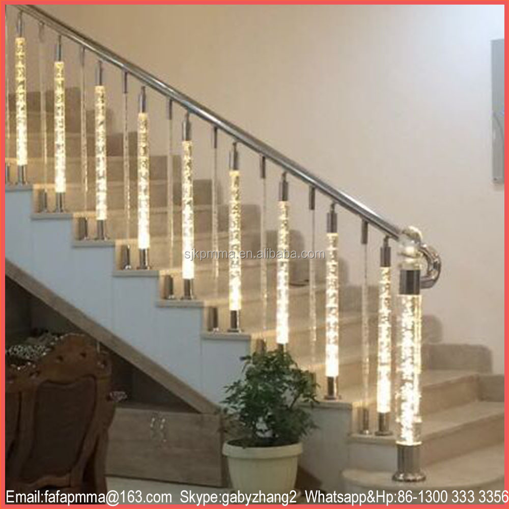Modern Crystal Acrylic Railing, Decorative Garden Fencing, Hot Sale Handrails for Outdoor Steps
