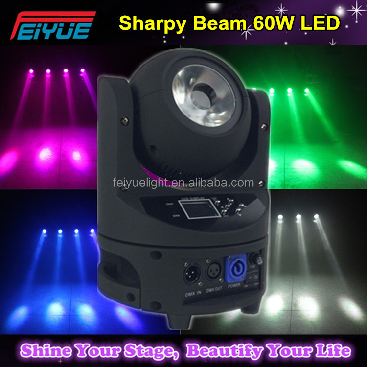 Fast Moving Items From China X&Y Infinite Rotate Sharpy Beam 60W LED Mini Moving Head