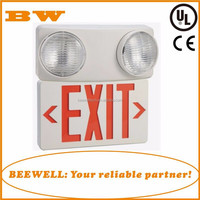UL listed and CE Red/ Green color solar power emergency light with exit sign for fire escape