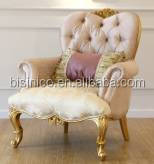 Gorgeous French Royal Golden Frame Solid Wood Living Room Sofa Set/ Elegant Victorian Design Fabric Sofa Recliner Salon Set