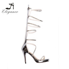 2017 Women Summer Sandals Metallic Color Silver Cut Out Pencil High Heel Gladiator Boots
