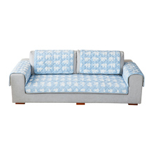 Home funiture protector warm soft anti-slip blue quilting flannel latest design sofa cover set