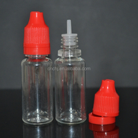 10ml e liquid package transparent plastic e liquid dropper bottle with long thin tip and tamper proof cap
