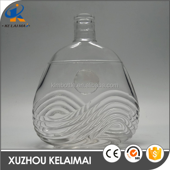 700ml fancy shaped clear glass wine bottle for XO