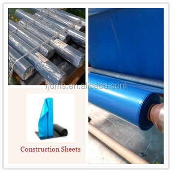 Recycled blue plastic sheeting for building construction 75um