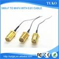 Low cost SMA Female connector to ipex connector 0.81 rf cable assembly