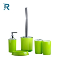 colorful plastic 5 pcs bathroom accessory set