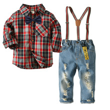 boutique clothing <strong>children</strong> Boys Plaid Shirt Jeans Trousers <strong>Set</strong> Child Gentlemen's <strong>Set</strong> of Four <strong>Children's</strong> Suits