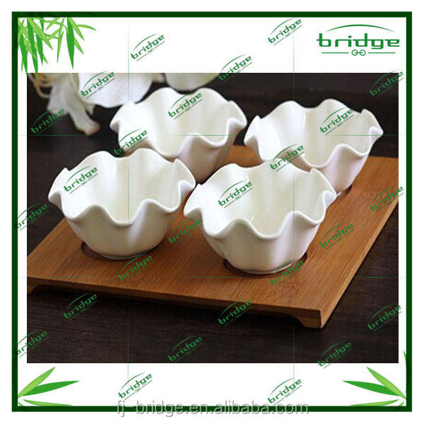 2015 Romantic flower ceramic dessert dish with bamboo tray