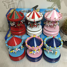 Luxury 4 Horse Go Round Musical Swings Carousels Music Box