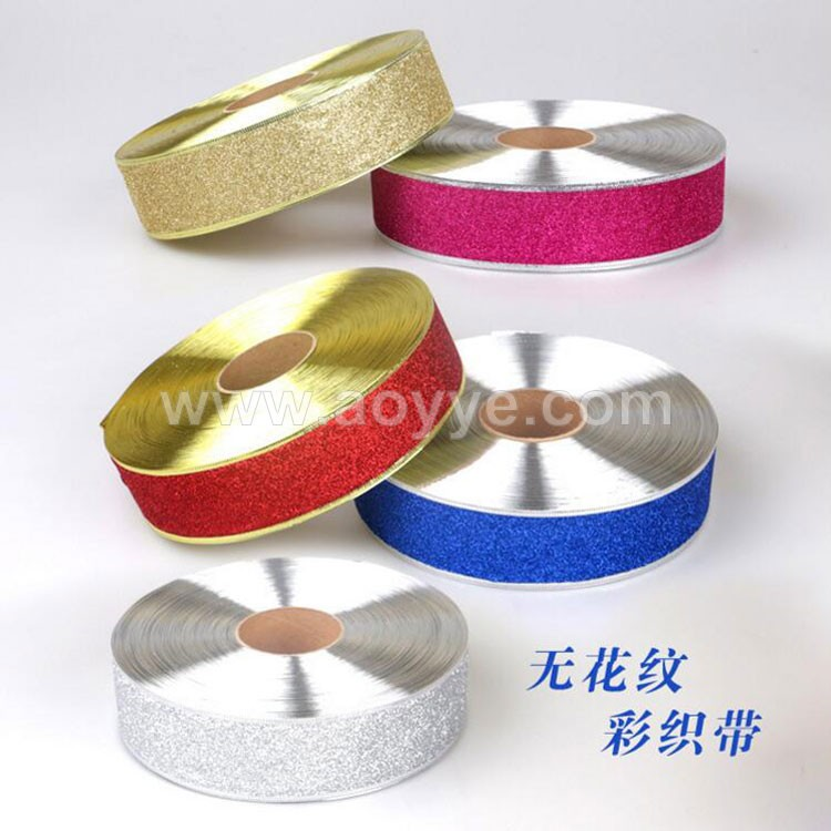 Wholesale elegant christmas holiday wedding decorative 200 * 5 cm high onion powder color christmas silver glitter ribbons