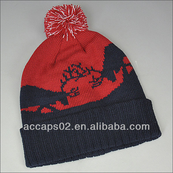 Jacquard knit fold up beanie hats with top ball