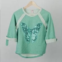 China factory wholesale kids medium sleeve green t shirts