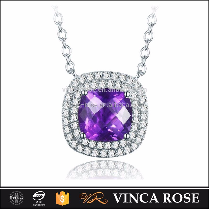 Wholesale alibaba store silver 925 necklace jewellery with Amethyst plating