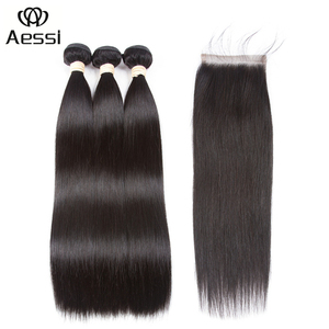 Wholesale AESSI brand 100 virgin human hair extension with remy closure 100 gram weave hair bundles