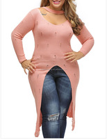 high quality wide collar knits solid color ladies ripped long sweaters plus size, Wholesale Sexy Loose Knit BIG Hollow Out Swea