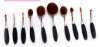 Factory direct sales 10pcs rose gold oval cosmetic toothbrush shape makeup brush smudge brush set
