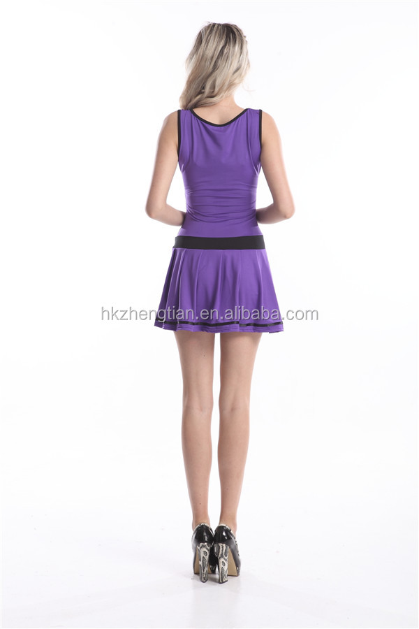 Fashionable Good Quality Purple Cheerleader Costumes Wholesale Sexy Cheerleader Costume Latex