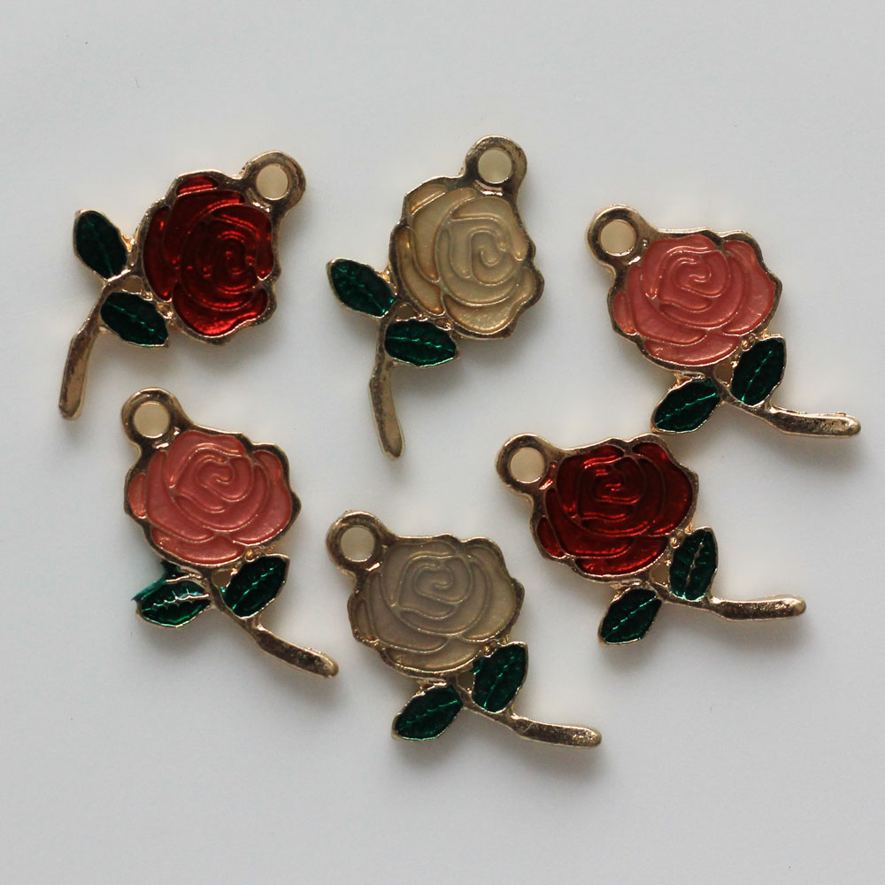 Mixed Color Enamel Rose Flower <strong>Charm</strong> for Jewelry Making and Crafting