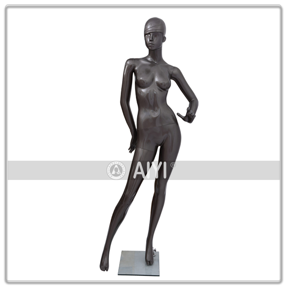 Pewter Glossy Big Breasted Female Mannequin Plastic Body For Sex