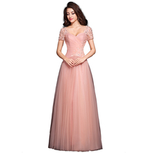 Evening Dresses Pink Elegant Pop Line Pleat And Bead Short Sleeve Made In China