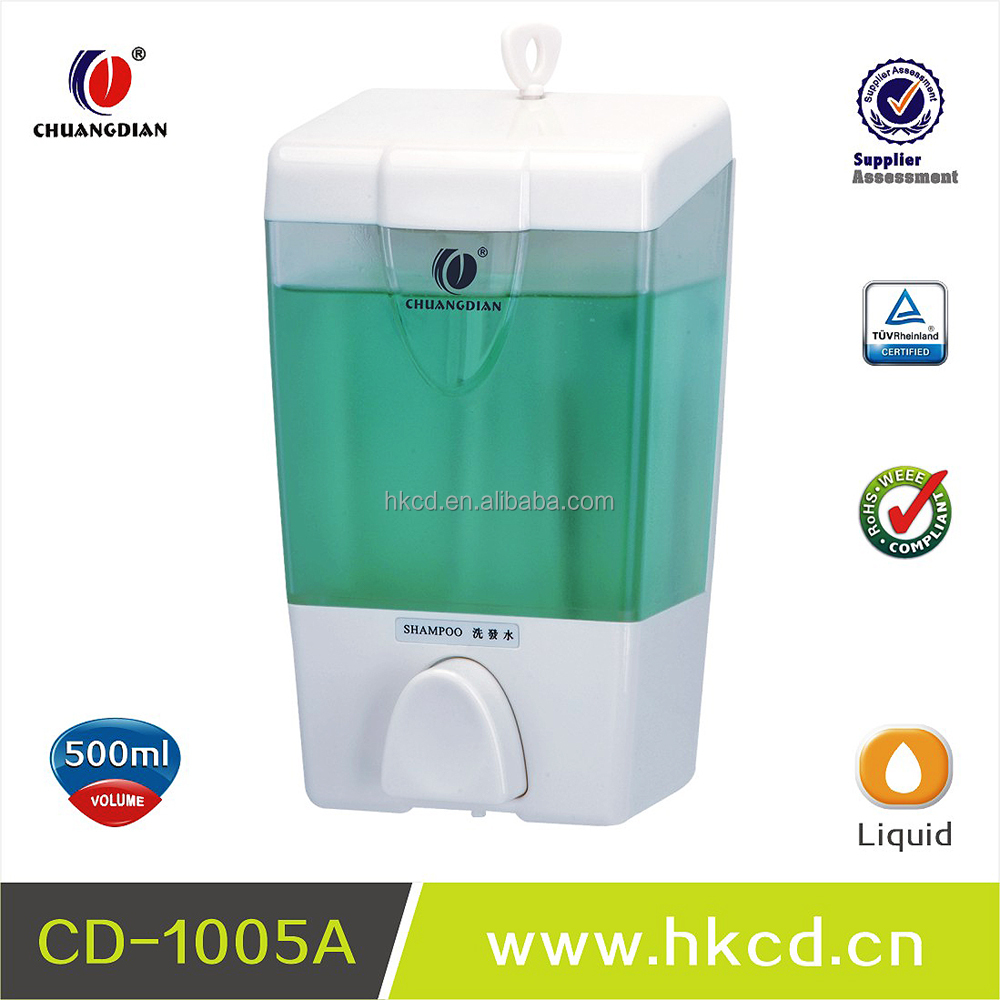 Plastic touch soap dispenser, manual liquid shampoo dispenser 550ml