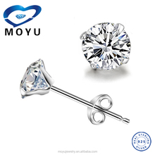 925 Sterling Silver cz stud earring 4mm /5mm/6mm/7mm