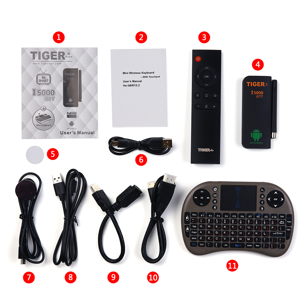 Tiger I5000 OTT smart Android tv box support wifi with mini keyboard
