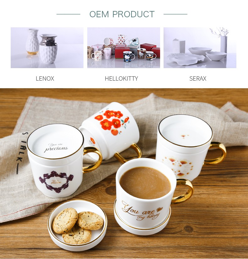 Newest design fine bone china porcelain drinking snack cup coffee mug with lid and handle