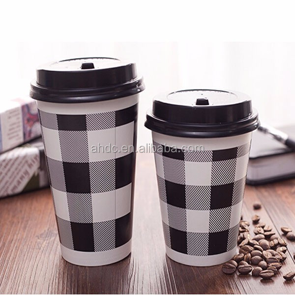 Disposable hot drinking custom logo paper coffee cup/plastic lid