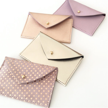 RFID Blocking Very Popular Metallic Rose Gold Leather Card Holder Wallet for Credit Card/Hotel Key Card/ID Card