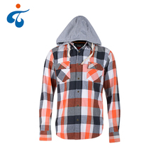 Wholesale custom men casual autumn check hooded flannel shirt