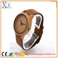 High quality brown leather band watch wood face names man made wood watch waterproof