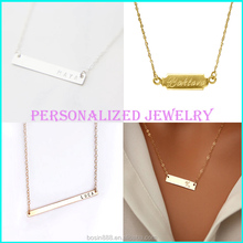 Factory direct sell cheap initial custom name personal bar necklace wholesale