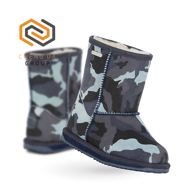 Wholesale Kids Winter Sheepskin Boots Fun Design Camouflage Shoes