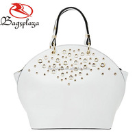 HD28-014 Ladies fancy items white plain custom PU tote bag