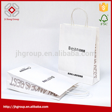 Manufacturer supply high quality white paper twist handle white kraft paper bags for food