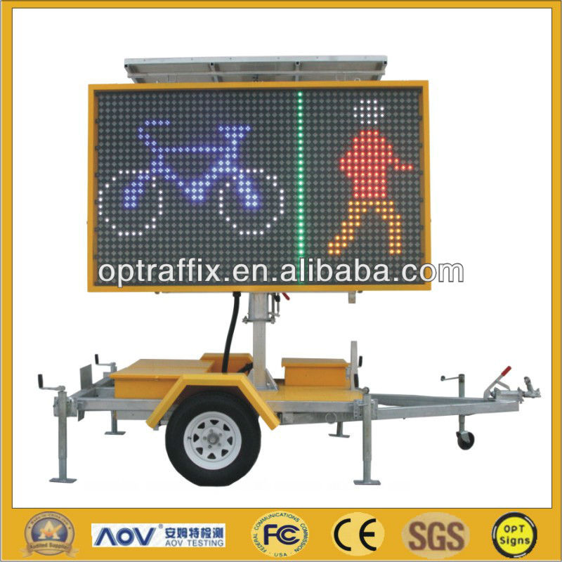 5 Color Outdoor Mobile Trailer Led Sign, Led Flashing Traffic Sign With Trailer VMS-300-3