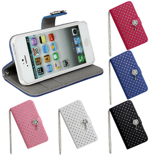 with chain lanyard flip leather diamond bling wallet case for iphone 5