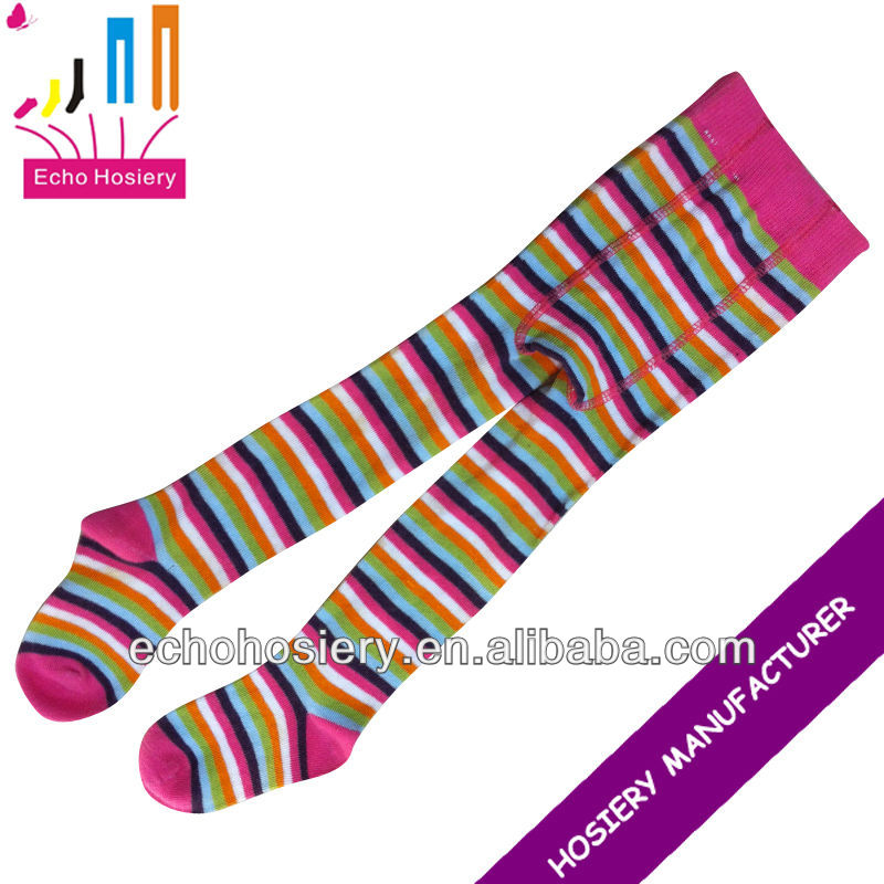 Neon Rainbow Multi Color Striped Stockings Leggings Pantyhose Tights