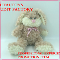 soft safety material plush rabbit bunny toy with pink ribbon