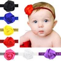 European Hot Rosette Rose Flower Headband Children Christmas Sequin Elastic Photography Props Hairbands