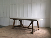 vintage outdoor garden rectangular wood table with concrete top