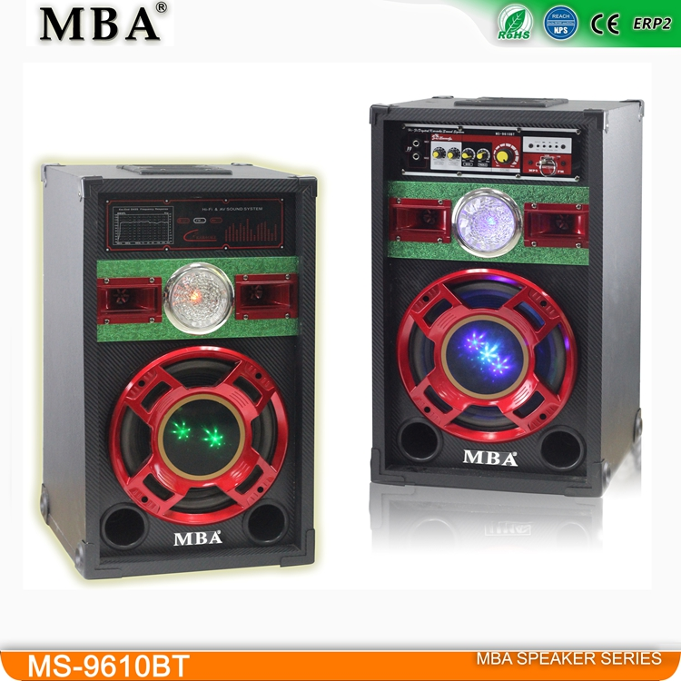 Hot Sale Cheap MDF Wooden Box 10-Inch Woofer 2.0 Professional Active Stage DJ Speaker with USB,SD,MMC,FM,BT