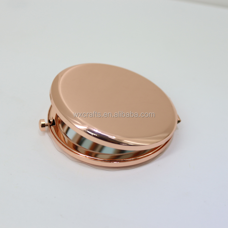 round folding hair brush with mirror