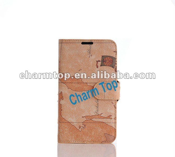 Stylish Map Design Leather Case For Samsung Galaxy Note2 N7100