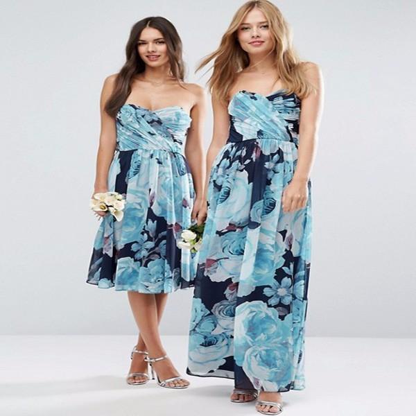 Newest design chiffon bandeau blue floral printed fabric maxi dress strapless long dresses